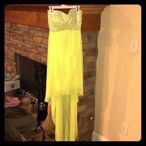 Highlighter yellow formal dress